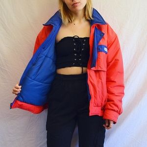 Vintage Eighties Bright Red and Blue Puffer Coat